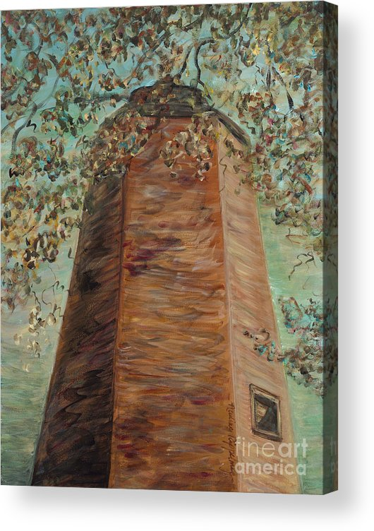 Old Baldy Acrylic Print featuring the painting Old Baldy Light House in Teal by Nadine Rippelmeyer