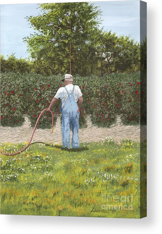 Old Man Acrylic Print featuring the painting Old man in garden by Don Lindemann