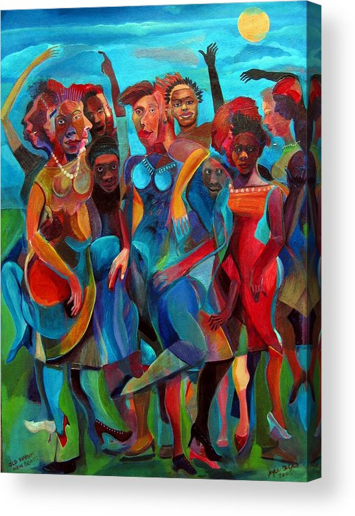 Figures Acrylic Print featuring the painting Old Rhythms New Beats by Joyce Owens