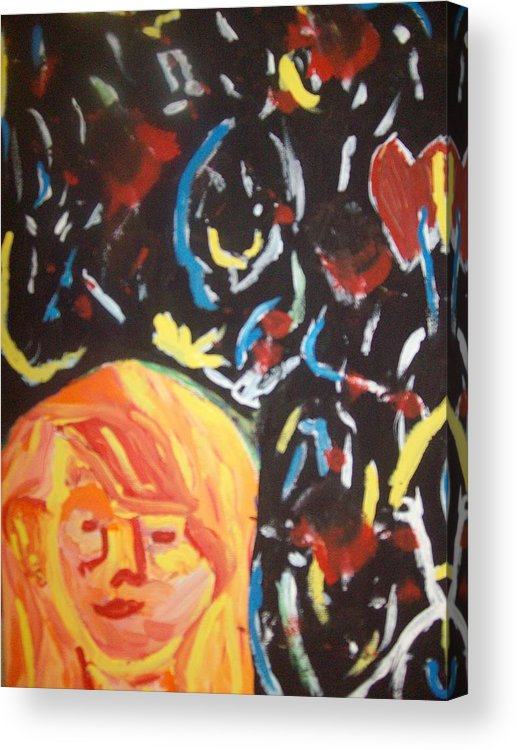 Girl Acrylic Print featuring the painting On this sleepless night by Samantha Gilbert