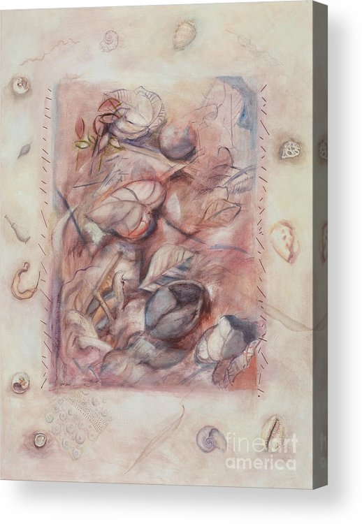 Shells Acrylic Print featuring the painting Organic Co-existence by Kerryn Madsen-Pietsch