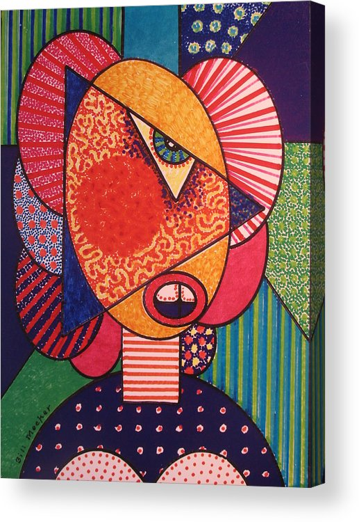 Cubissm Acrylic Print featuring the painting Painted Woman by Bill Meeker