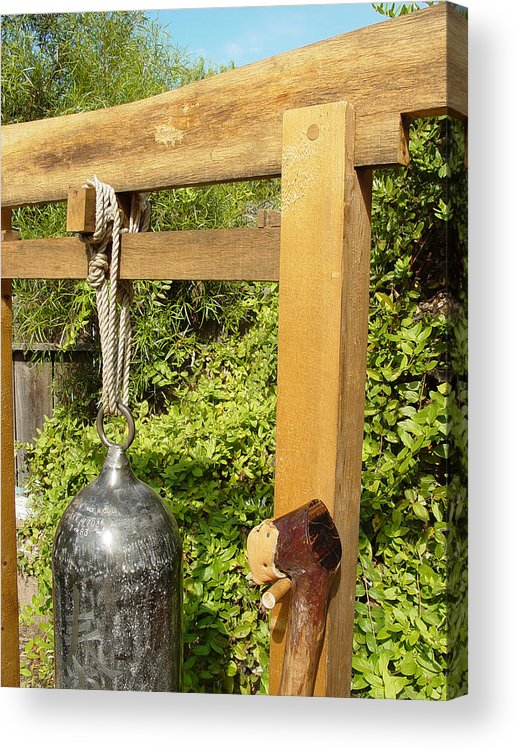 Bell Acrylic Print featuring the sculpture Peace Bell 2nd image  SOLD by Steve Mudge