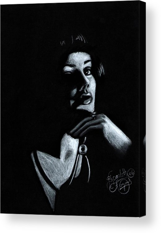 Portrait Acrylic Print featuring the drawing Persuasion by Scarlett Royal