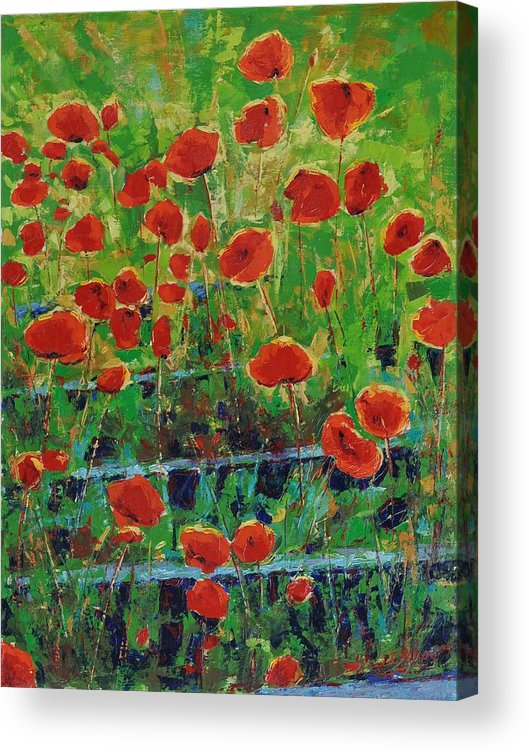 Poppies Acrylic Print featuring the painting Poppies And Traverses 1 by Iliyan Bozhanov