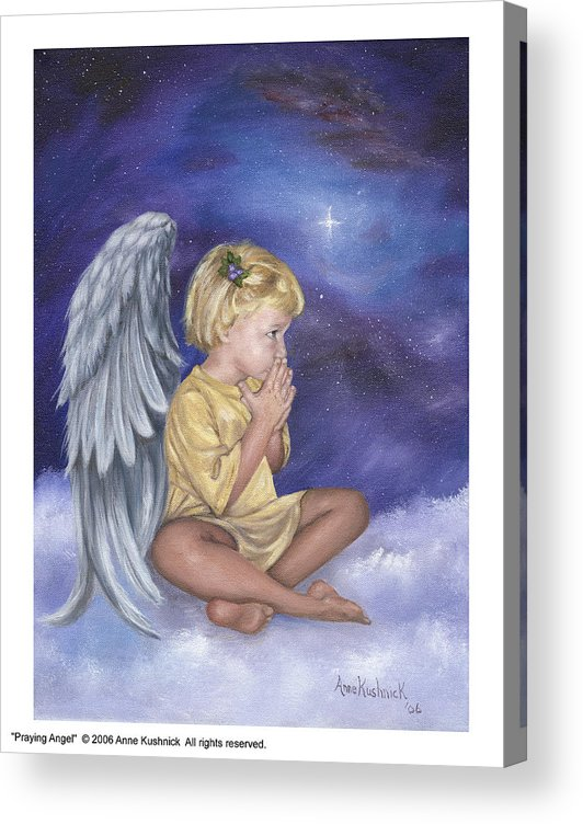 Christmas Acrylic Print featuring the painting Praying Angel by Anne Kushnick