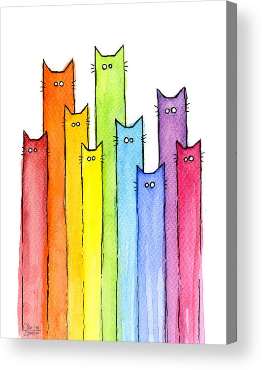 Watercolor Acrylic Print featuring the painting Rainbow of Cats by Olga Shvartsur
