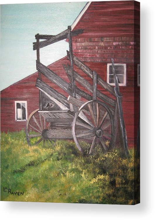 Landscape Acrylic Print featuring the painting Red Barn and Cattle Ramp by L A Raven