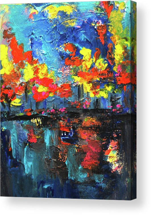 Halehabstract Acrylic Print featuring the painting Reflections series - Fall by Haleh Mahbod