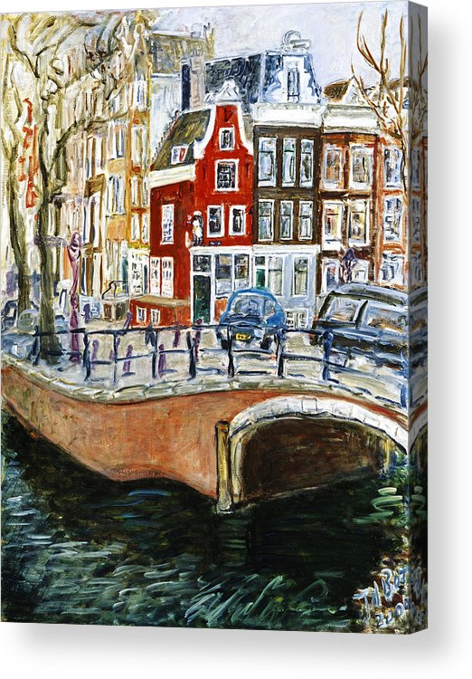 Amsterdam Cityscape Canal Water House Bridge Acrylic Print featuring the painting Reguliersgracht by Joan De Bot