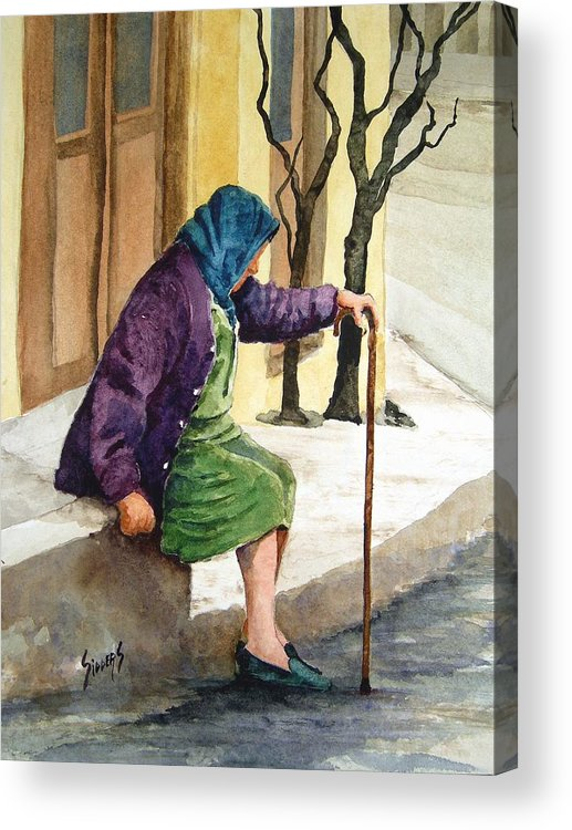 Old Lady Acrylic Print featuring the painting Resting by Sam Sidders