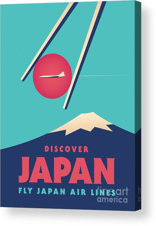 Japan Acrylic Print featuring the digital art Retro Japan Mt Fuji tourism - Cyan by Organic Synthesis
