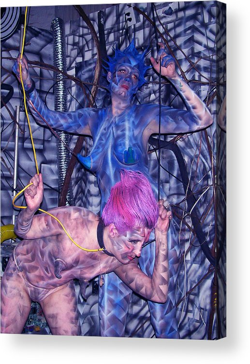 Body Paint Acrylic Print featuring the painting Robotic Blues by Leigh Odom