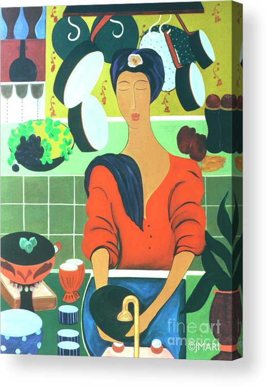 #kitchen Acrylic Print featuring the painting Sally by Jacquelinemari