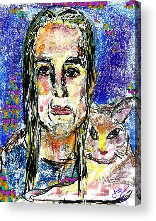 Woman Acrylic Print featuring the mixed media Sarah and Shai by Joyce Goldin