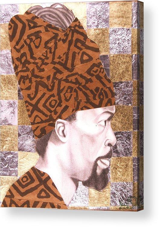 Maliksart Acrylic Print featuring the mixed media Self Portrait by Malik Seneferu