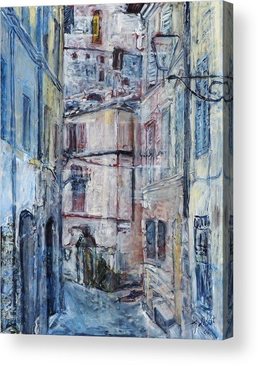 City Italy Street Buildings Blue Red Siena Acrylic Print featuring the painting SienaWalls by Joan De Bot