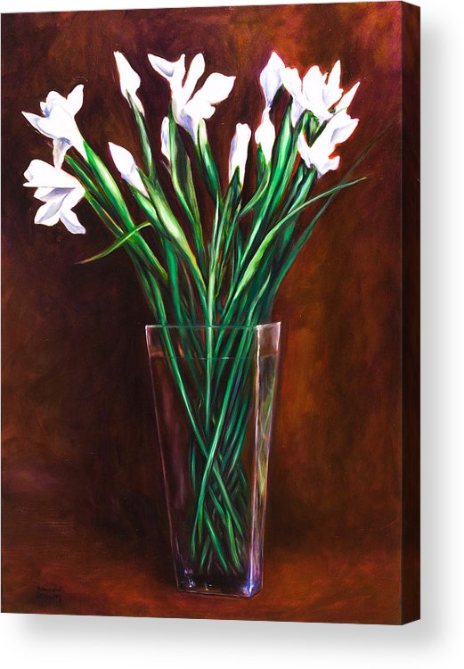 Iris Acrylic Print featuring the painting Simply Iris by Shannon Grissom