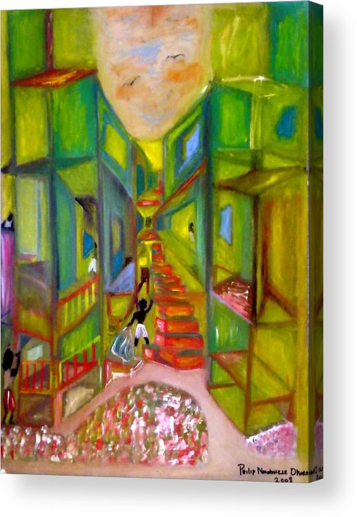 Housing Complex Acrylic Print featuring the painting Slum by Philip Okoro