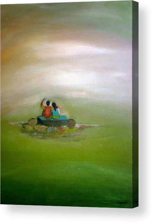 People Acrylic Print featuring the painting Someday by Philip Okoro