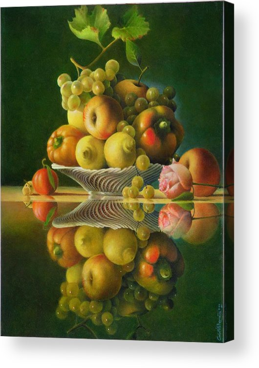 Still Life Acrylic Print featuring the painting Still Life with a Rose by Giuseppe Mariotti