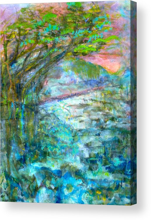 Splash Ink Watercolor Acrylic Print featuring the painting Stretching Cypress by Phoenix Simpson