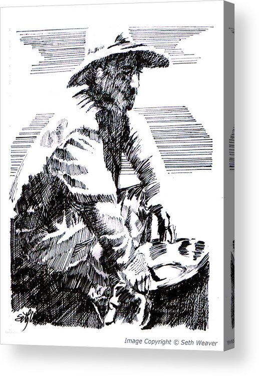 1850's Old West Acrylic Print featuring the drawing Striking It Rich by Seth Weaver
