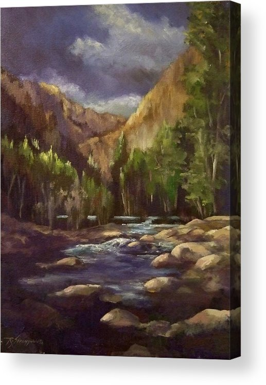 Mountain Stream Acrylic Print featuring the painting Summer Runoff by Ruth Stromswold