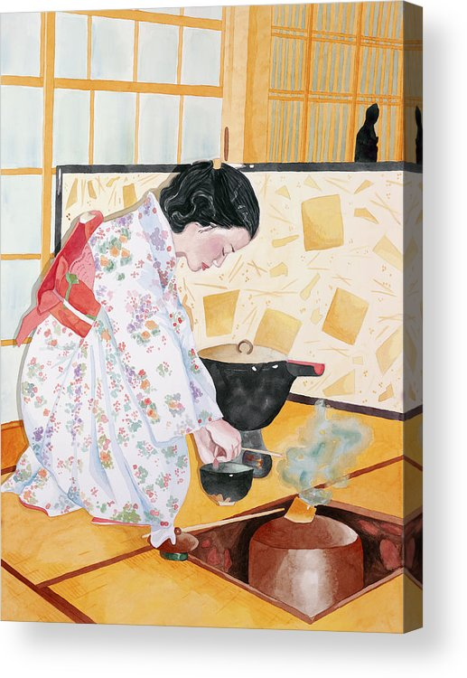Japanese Woman Performing Tea Ceremony Acrylic Print featuring the painting Tea Ceremony by Judy Swerlick