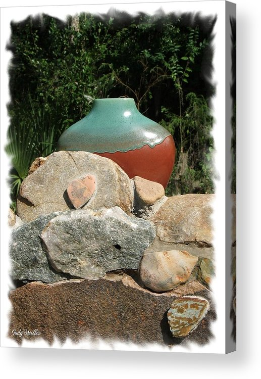 Landscape Acrylic Print featuring the photograph Teal and Brown Clay Pot by Judy Waller