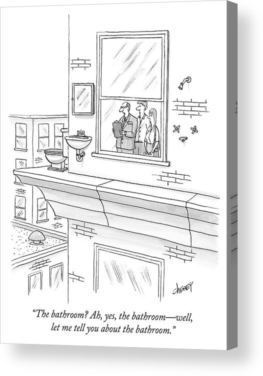 """""""the Bathroom? Ah Acrylic Print featuring the drawing The bathroom by Tom Cheney"""