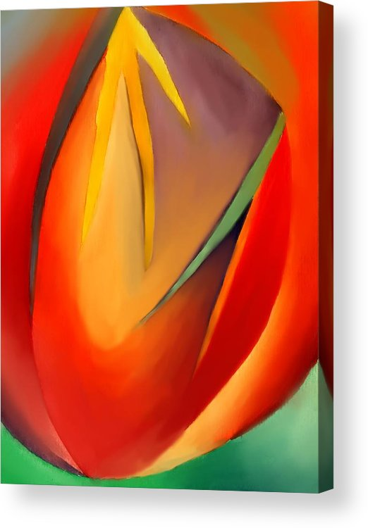 Abstract Acrylic Print featuring the painting The Cave by Peter Shor