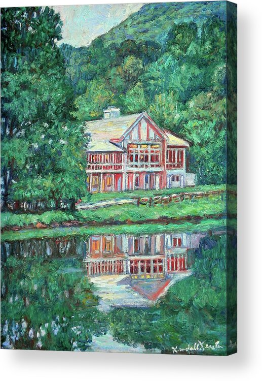 Lodge Paintings Acrylic Print featuring the painting The Lodge at Peaks of Otter by Kendall Kessler