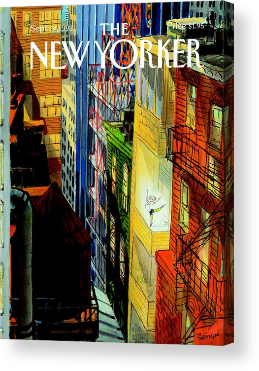 City Acrylic Print featuring the painting New Yorker September 20th, 1993 by Jean-Jacques Sempe