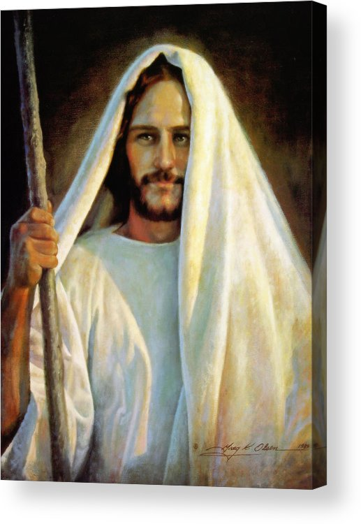 Jesus Acrylic Print featuring the painting The Savior by Greg Olsen