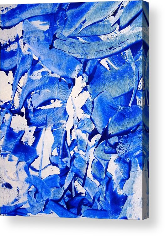 Blue Acrylic Print featuring the painting The Sky Is Falling by Bruce Combs - REACH BEYOND