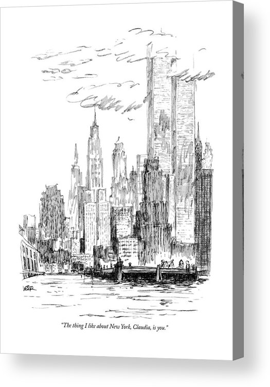 Nyc Acrylic Print featuring the drawing The Thing I Like About New York by Robert Weber