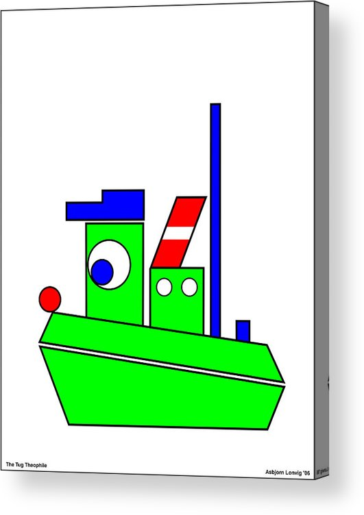Theophile Acrylic Print featuring the digital art Theophile the Tug by Asbjorn Lonvig