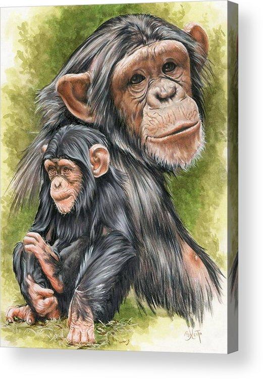 Chimpanzee Acrylic Print featuring the mixed media Treasure by Barbara Keith