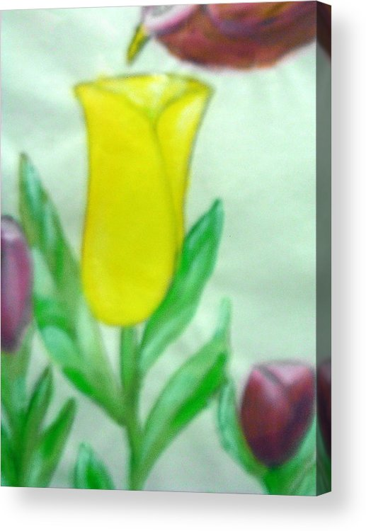 Flowers Acrylic Print featuring the painting Tulip and Hummingbird by BJ Abrams