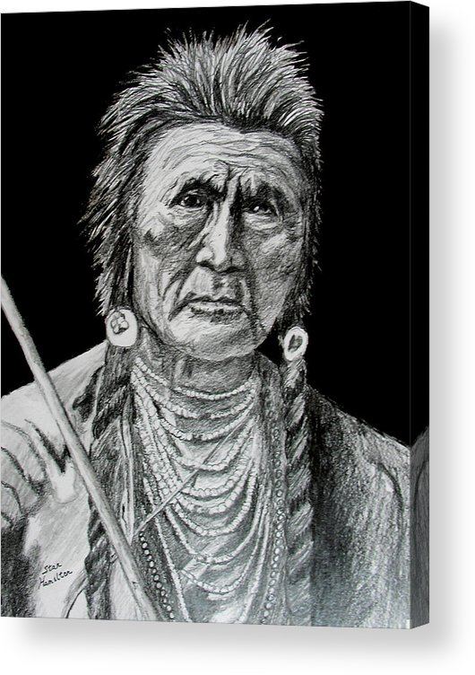 Portrait Acrylic Print featuring the drawing Unknown Indian V by Stan Hamilton