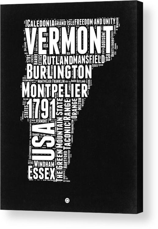 Vermont Acrylic Print featuring the digital art Vermont Word Cloud Black and White Map by Naxart Studio