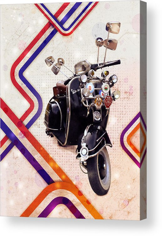 Scooter Acrylic Print featuring the digital art Vespa Mod Scooter by Michael Tompsett