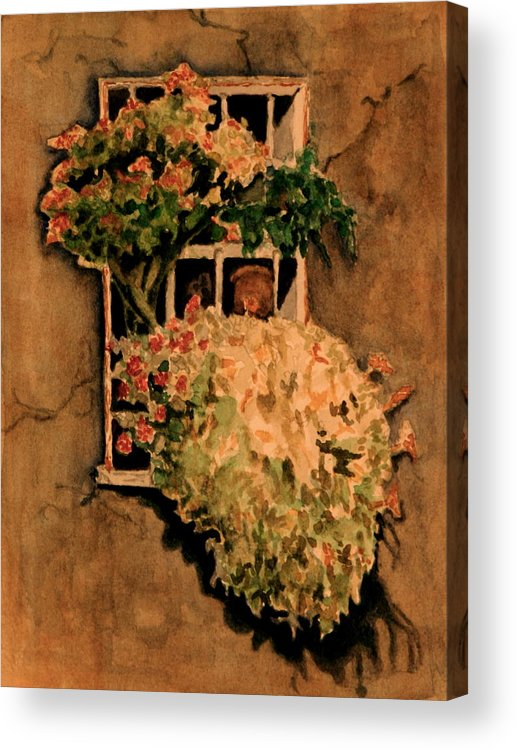 Flowers Acrylic Print featuring the painting View from a Roman Window by Dan Earle