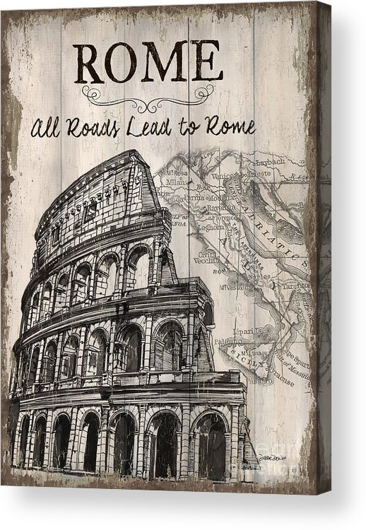 Rome Acrylic Print featuring the painting Vintage Travel Poster by Debbie DeWitt