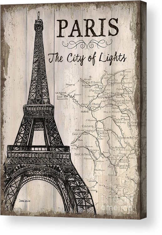 Paris Acrylic Print featuring the painting Vintage Travel Poster Paris by Debbie DeWitt