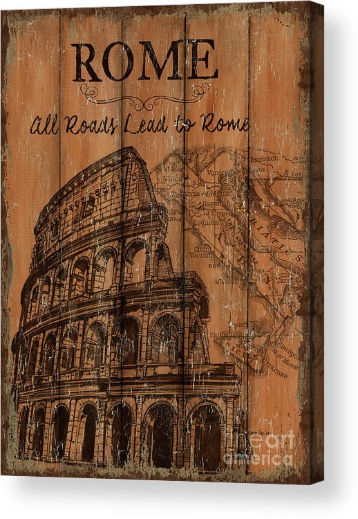 Rome Acrylic Print featuring the painting Vintage Travel Rome by Debbie DeWitt