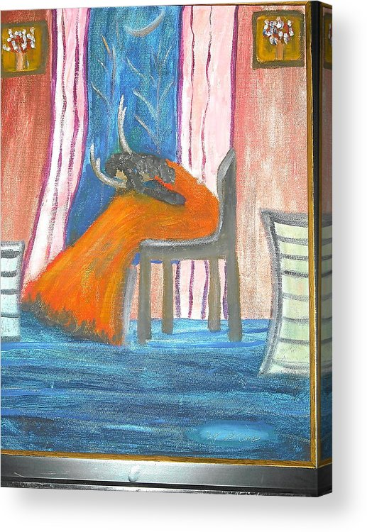 Abstract Acrylic Print featuring the painting Wailing Woman by Betty Abrams