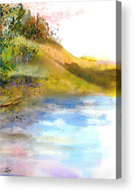 Landscape Acrylic Print featuring the painting Waters Edge by Vi Mosley