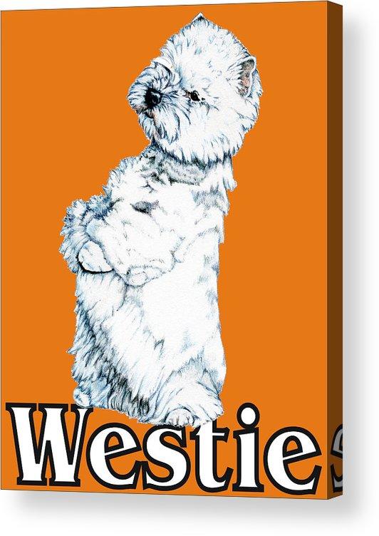 Westie Acrylic Print featuring the drawing West Highland White Terrier Westie Urban Pop Orange by Kathleen Sepulveda